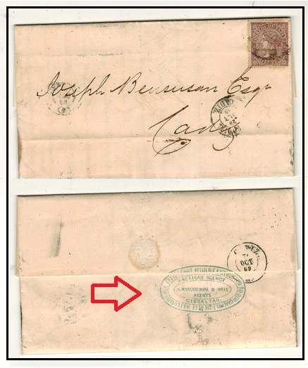 GIBRALTAR - 1869 (Spanish Stamp Period) 50m rate cover to Cadiz from San Roque.