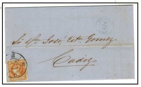 GIBRALTAR - 1860 (Spanish Stamp Period) 4c rate entire to Cadiz from San Roque by overland mail.