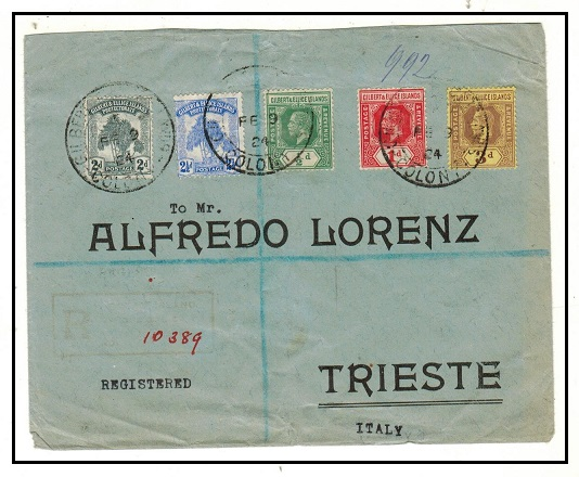 GILBERT AND ELLICE IS - 1924 multi franked registered cover to Italy.
