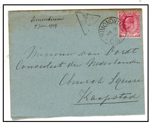 CAPE OF GOOD HOPE - 1909 1d rate cover to Cape Town used at SIMONDIUM with