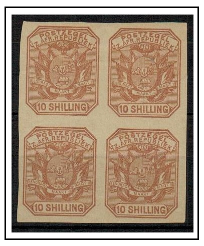 TRANSVAAL - 1885 10/- IMPERFORATE COLOUR TRIAL block of four printed in issued colour.
