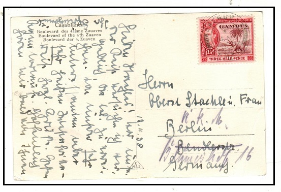 GAMBIA - 1938 use of postcard to Germany with scarce 1 1/2d (SG 152) used at BATHURST.