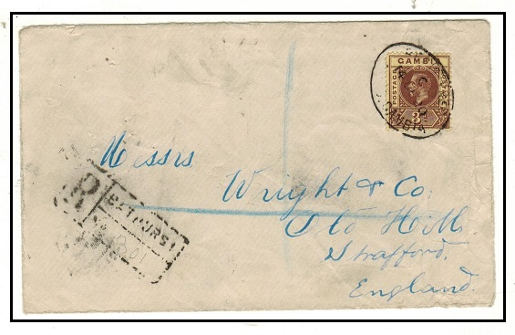GAMBIA - 1920 3d rate registered cover to UK.