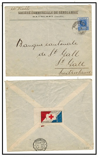 GAMBIA - 1916 2 1/2d rate cover to Switzerland with RED CROSS label on reverse.