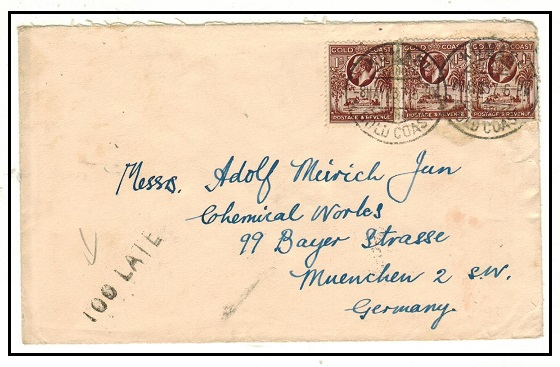 GOLD COAST - 1937 3d rate cover to Germany struck