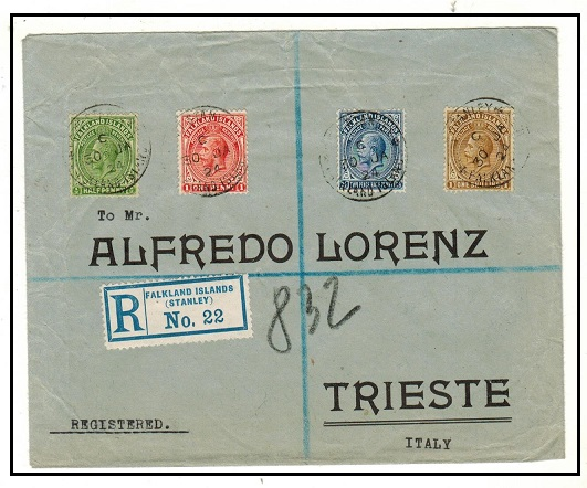 FALKLAND ISLANDS - 1924 multi franked registered cover to Italy used at PORT STANLEY.