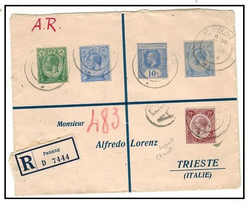 MALAYA (Penang) - 1924 multi franked registered cover to Italy with