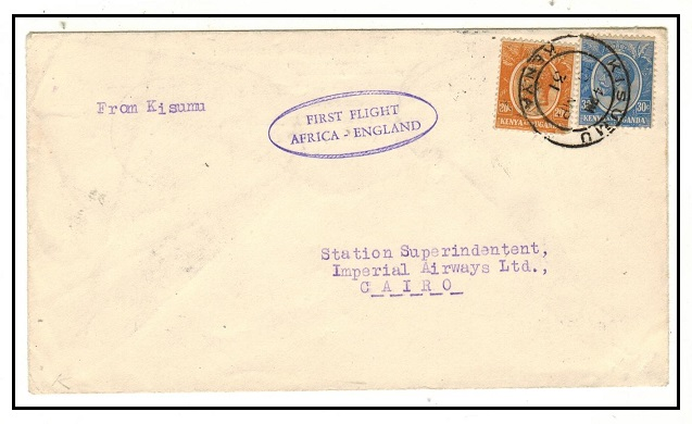 K.U.T. - 1931 first flight cover to Egypt used at KISUMU.