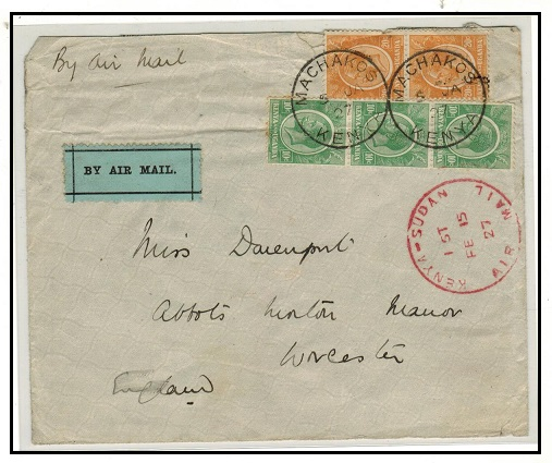 K.U.T. - 1927 first flight cover to UK used at MACHAKOS with special cachet applied.