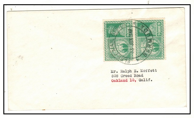 BERMUDA - 1946 cover to USA with 9p Indian