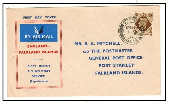 FALKLAND ISLANDS - 1952 inward first flight cover from UK on the experimental flying boast service.