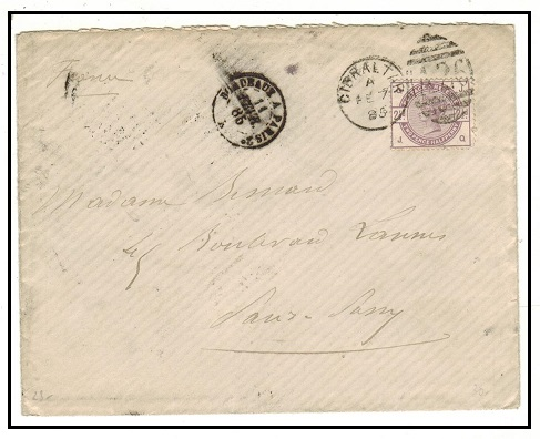 GIBRALTAR - 1885 GB 2 1/2d (SG Z80) used on cover to France tied