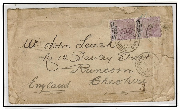 BECHUANALAND - 1891 1/- rate cover to UK used at PALACHWE/KHAMAS TOWN.