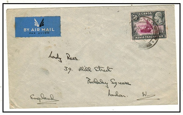 K.U.T. - 1937 50c rate cover to UK struck by part KILAMANJARO TPO cds.