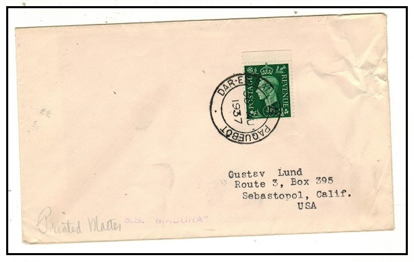 K.U.T. - 1937 GB 1/2d green use on cover to USA struck DAR-ES-SALAAM/PAQUEBOT.