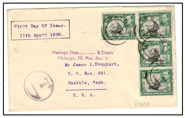 K.U.T. - 1938 underpaid FDC cover to USA with