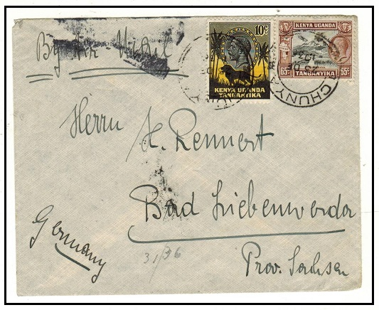 K.U.T. - 1936 75c rate cover to Germany used at CHUNYA.
