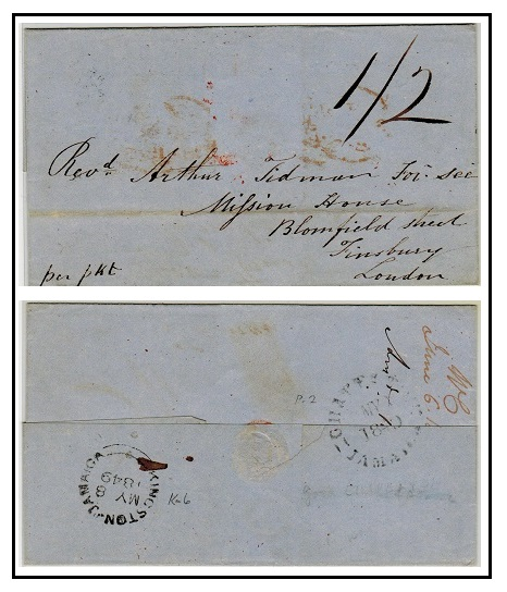 JAMAICA - 1849 stampless entire to UK used at CHAPELTON/JAMAICA.