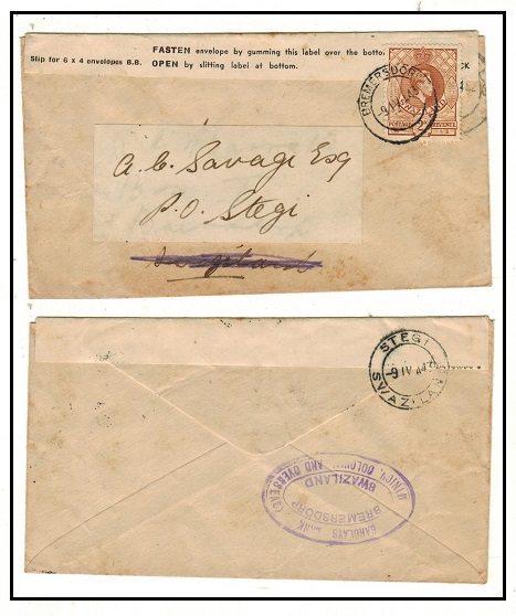 SWAZILAND - 1943 2d rate local cover with