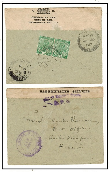 MALAYA (Penang) - 1917 inward cover from India with