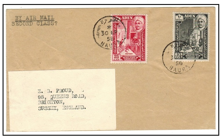 ADEN (States) - 1958 cover to UK used at HAURA.