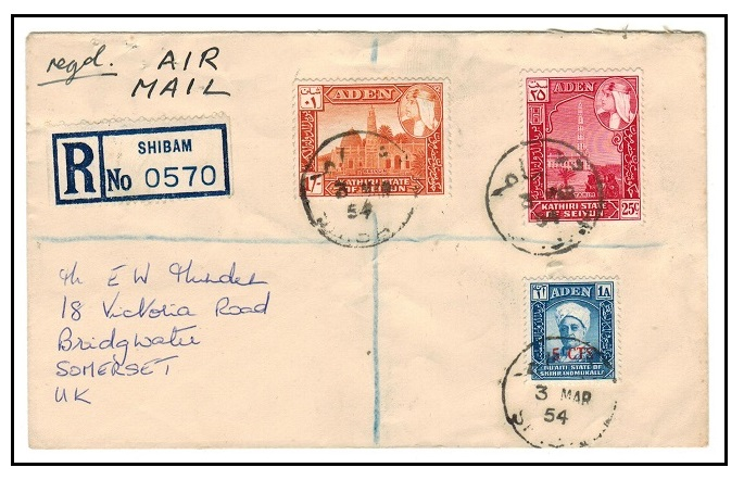 ADEN (States) - 1954 registered cover to UK used at SHIBAM.