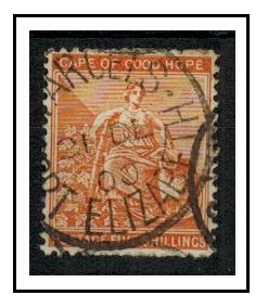 CAPE OF GOD HOPE - 1896 5/- brown-orange (SG 68) struck PARCELS/PORT ELIZABETH.