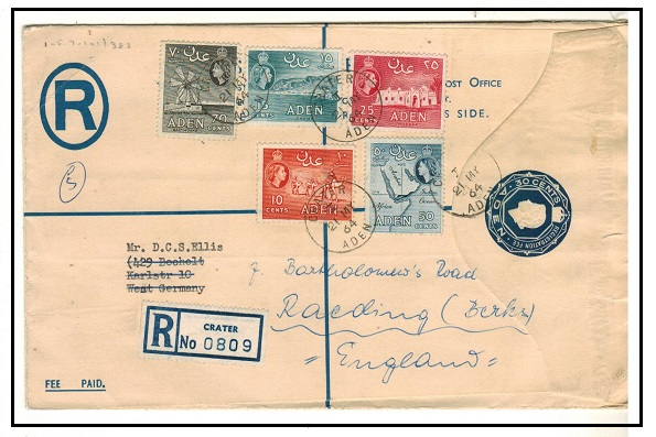 ADEN - 1953 30c dark blue RPSE (size H) uprated to UK and used at CRATER/ADEN.  H&G 3a.