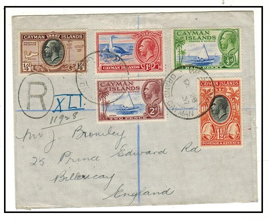 CAYMAN ISLANDS - 1937 multi franked registered cover to UK used at WEST BAY/GRAND CAYMAN.
