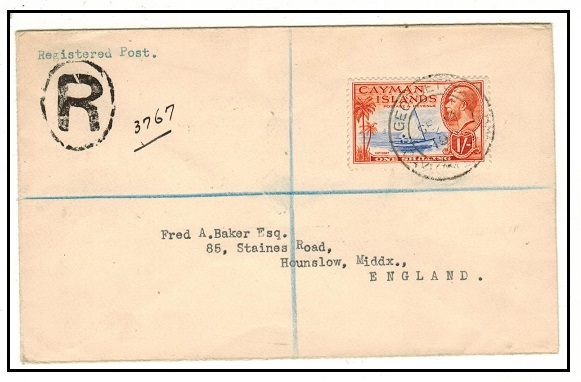 CAYMAN ISLANDS - 1936 1/- rate registered cover to UK used at GEORGETOWN.