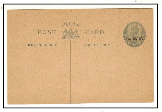 INDIA - 1915 1/4a grey PSC overprinted I.E.F. unused.  H&G 7.