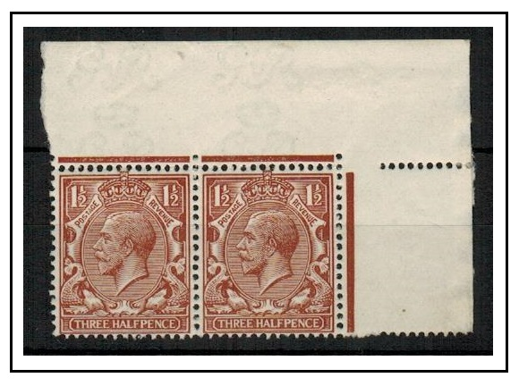 GREAT BRITAIN - 1912 1 1/2d red brown U/M pair with MISSING CROWN IN WATERMARK.  SG 362.