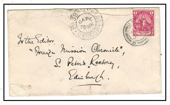 CAPE OF GOOD HOPE - 1902 1d rate cover used at UMTALI with PASSED PRESS/CAPE TOWN h/s.