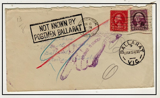 AUSTRALIA - 1938 inward cover from USA with NOT KNOWN BY/POSTMEN BALLARAT h/s applied.