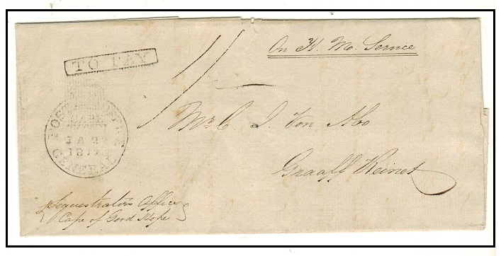 CAPE OF GOOD HOPE - 1830 OHMS outer wrapper to Graaf Reinet struck POST OFFICE/CAPE TOWN/GENERAL.