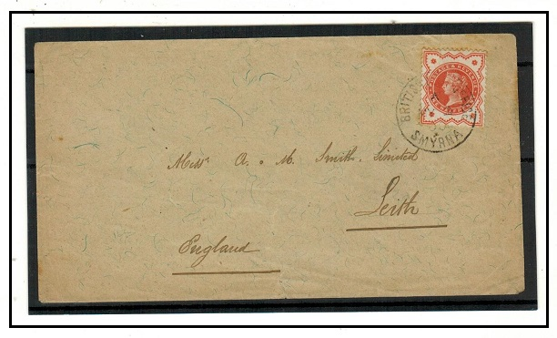 BRITISH LEVANT - 1900 1/2d (SG Z256) on cover to UK used at BPO/SMYRNA.
