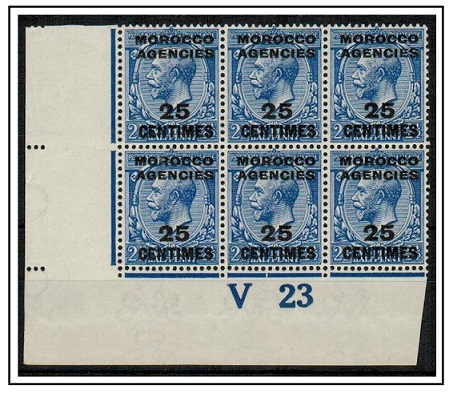 MOROCCO AGENCIES - 1917 25c on 2 1/2d blue U/M