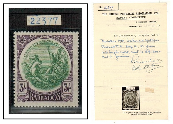 BARBADOS - 1920 3/- green and bright violet fine mint. BPA certificate.  SG 200a.