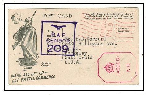 NIGERIA - 1944 OFFICIAL PAID cigarette card to USA with