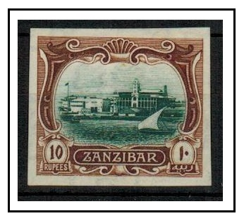ZANZIBAR - 1908 10r IMPERFORATE PLATE PROOF (SG type 28) printed in issued colours.