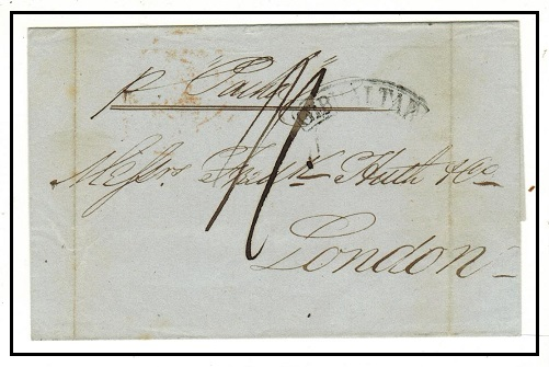 GIBRALTAR - 1844 outer wrapper handstamped by small arc GIBRALTAR strike.