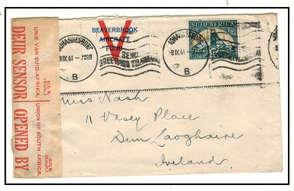 SOUTH AFRICA - 1941 1 1/2d rate cover with