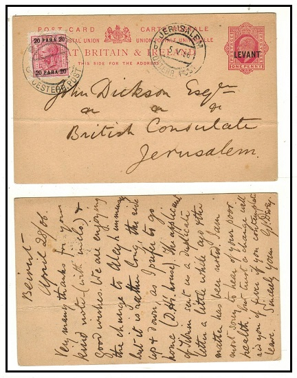 BRITISH LEVANT - 1908 1d carmine PSC uprated at the Austrian Post Office at Beirut.  H&G 19.