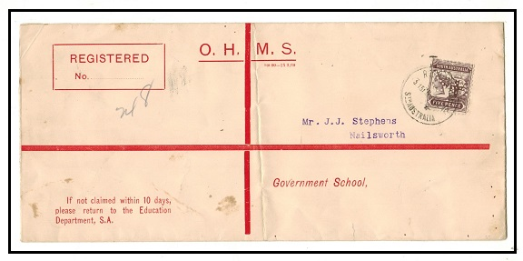 AUSTRALIA (South Australia) - 1910 use of OHMS cover with 5d perforated