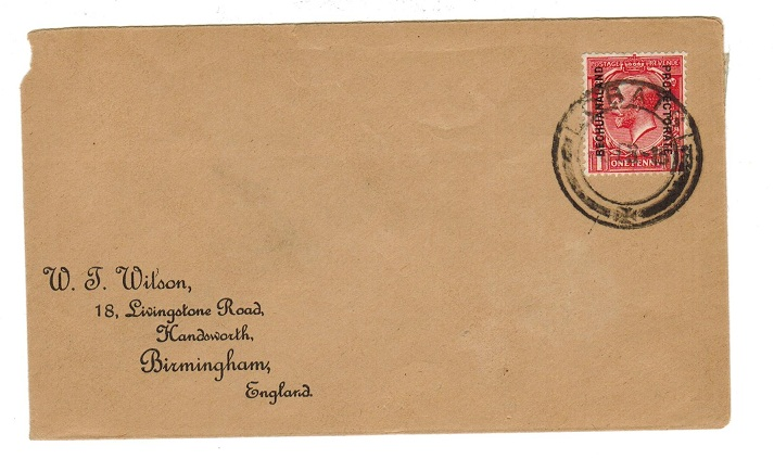 BECHUANALAND - 1915 1d rate cover to UK used from LOBATSI.