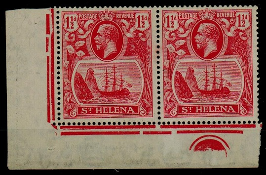 ST.HELENA - 1923 1 1/2d rose-red PLATE 1 corner mint pair with CLEFT ROCK variety.  SG 99c.