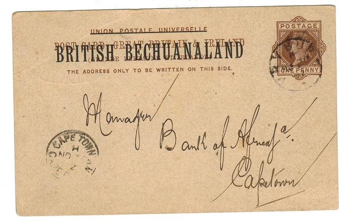 BECHUANALAND - 1888 1d PSC to Cape Town used at VRYBURG.  H&G 4.