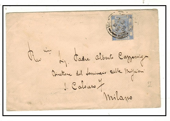 HONG KONG - 1902 10c rate cover to Italy used at VICTORIA.
