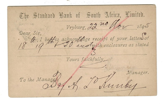BECHUANALAND - 1890 1d PSC to Kimberley used at VRYBURG.  H&G 5.