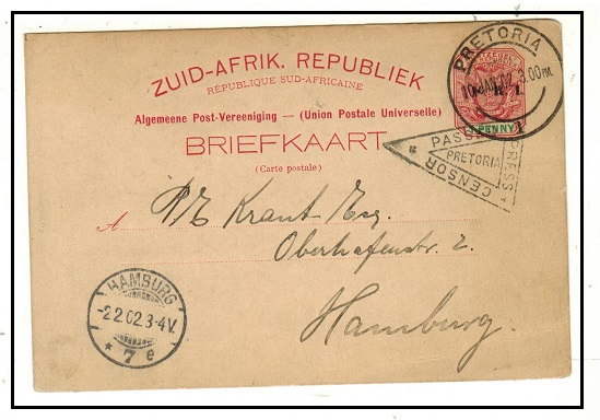 TRANSVAAL - 1900 1d carmine PSC to Germany used at PRETORIA and with PASSED PRESS CENSOR h/s.